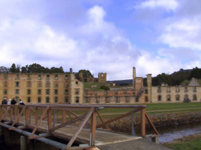 Wandering between exhibits at Port Arthur