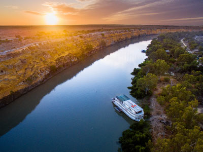 Riverboat on the Murray River aerial photo