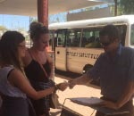 Boarding the Alice Springs airport transfer vehicle