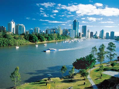 Brisbane city skyline with river in foreground