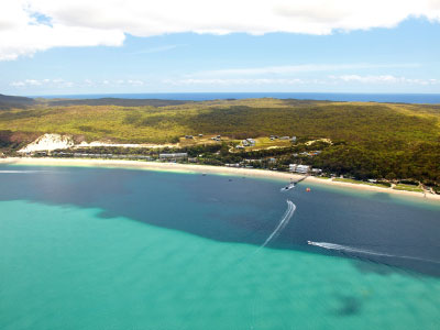 Aerial of Tangalooma Island Resort on Moreton Island, Brisbane.