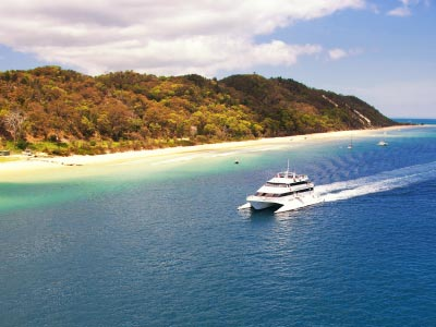 Cruise Boat off coast of Moreton Island on its way to Tangalooma Island Resort