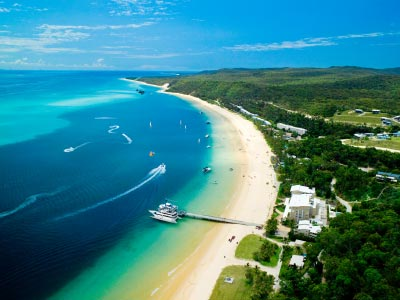 Tangalooma Island Resort aerial photo, Moreton Island, Brisbane