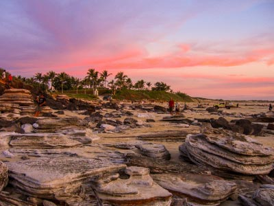 Broome foreshore rocks and sunset