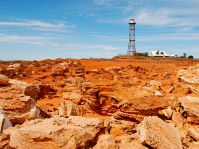 Gantheaume Point, red rocks against blue sky and tower