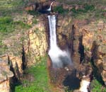 aerial view of huge waterfall at kakadu