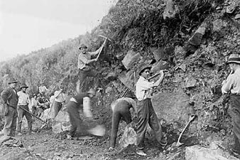 Workers building the Great Ocean Road