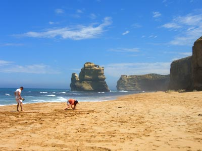 People playing on the beach at Gibson's Steps, Twelve Apostles