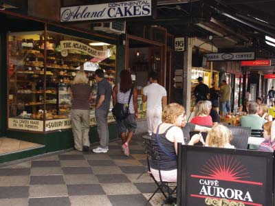 European cake shops on Acland street