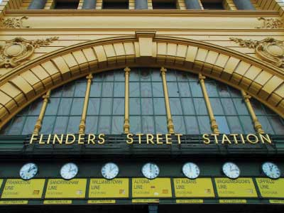 Iconic clocks at Flinders Street Station