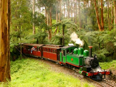 Puffing Billy Steam Train travelling through the Blue Dandenong Ranges