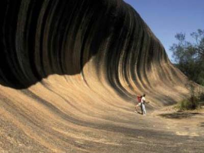 People standing in front of Wave Rock