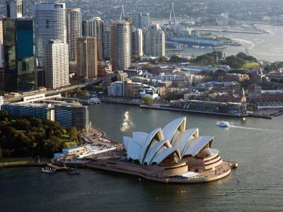 Aerial photo from helicopter above Sydney Harbour and Opera House