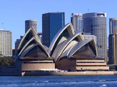 sydney opera house with cbd behind