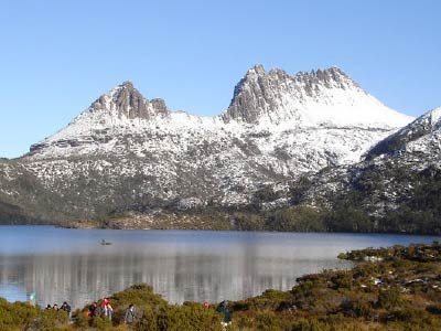 Cradle Mountain with Snow reflecting in Dove Lake