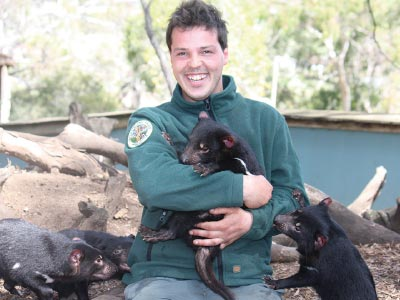 Park ranger with Tasmanian Devil