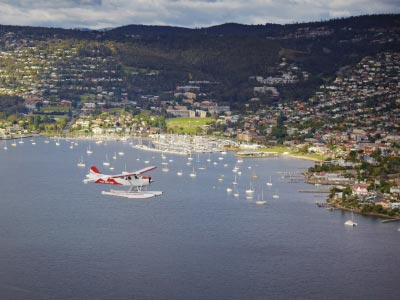 Sea Plane soaring over Hobart