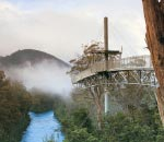 tahune airwalk cantilever section reaching for low cloud with river below