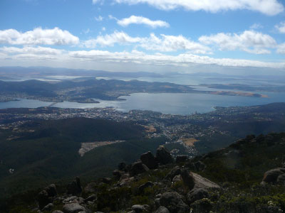 Summit view over Hobart