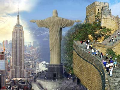 Collage of Empire State Building, Great Wall of China & Christ the Redeemer